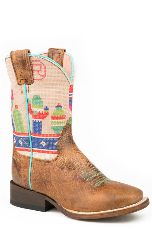 ROPER BIG KIDS BLUE WAXY BROWN LEATHER COLORFUL CACTUS BOOTS