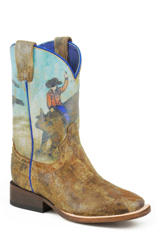 ROPER BIG KIDS TAN DISTRESSED BROWN LEATHER VAMP BUCKING BRAHMA BOOTS