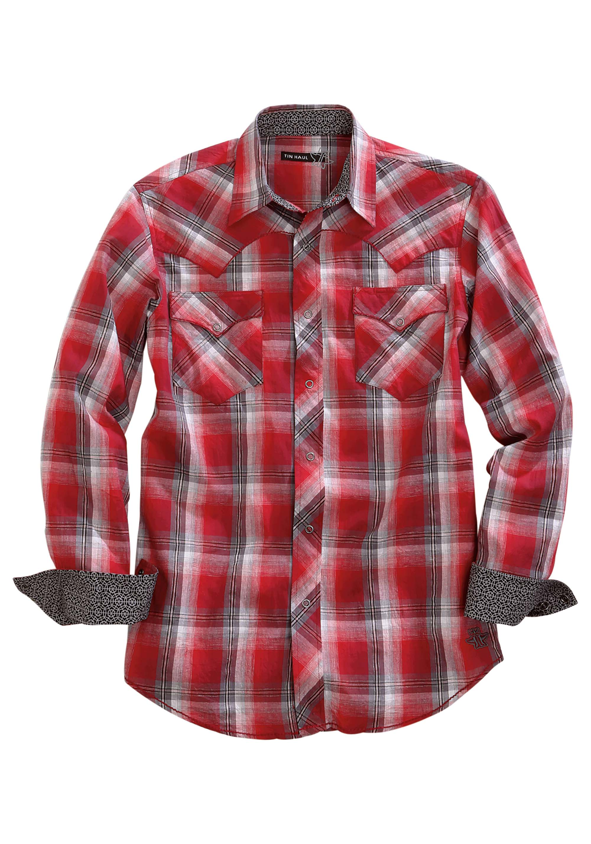 TIN HAUL MENS RED 1333 RED FLAG PLAID TIN HAUL COLLECTION LONG SLEEVE SHIRT