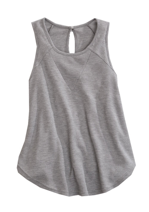 TIN HAUL WOMENS GREY 1668 HEATHER GREY THERMAL KNIT TANK TIN HAUL COLLECTION SLEEVELESS