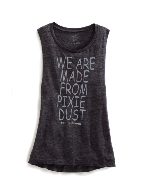 TIN HAUL WOMENS GREY WE ARE MADE FROM PIXIE DUST TIN HAUL TEE SLEEVELESS SHIRT