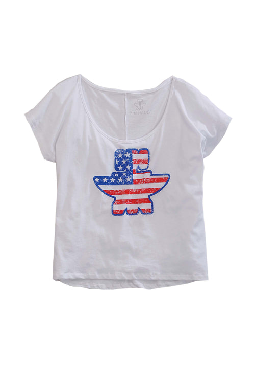 TIN HAUL WOMENS WHITE CROP TEE W/AMERICAN FLAG ANVIL/HAMMER TIN HAUL GAL'S T-SHIRT COLLECTION SHORT SLEEVE SHIRT