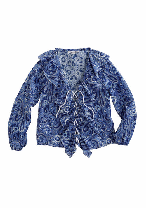 TIN HAUL WOMENS BLUE 1800 FLOWER POWER PAISLEY CROPPED TOP TIN HAUL COLLECTION LONG SLEEVE SHIRT