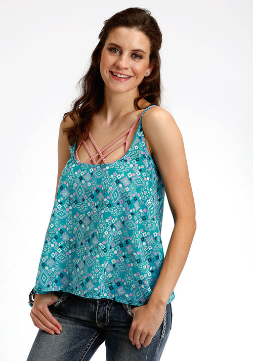 TIN HAUL WOMENS BLUE 2708 SCATTERED AZTEC PRINT TANK TOP TIN HAUL COLLECTION SLEEVELESS
