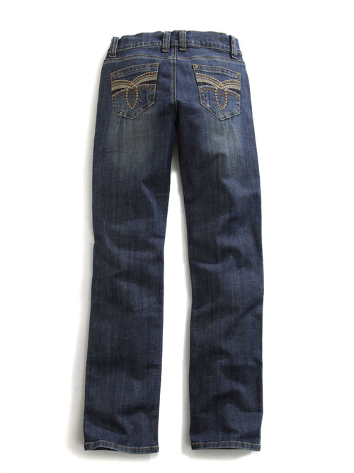 TIN HAUL LADIES BLUE MULTI STITCHING GOLD LOOP BACK PKT OWS TIN HAUL GAL'S JEAN JEANS