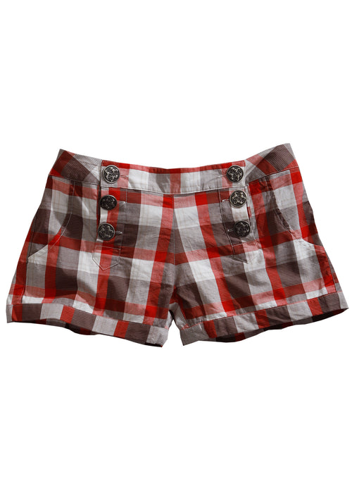 TIN HAUL LADIES RED 7415 BUCKEYE CHECK TIN HAUL COLLECTION SHORTS