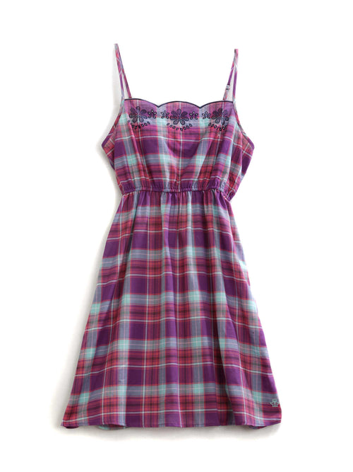 TIN HAUL LADIES MULTI 9820 BERRY MINT PLAID TIN HAUL COLLECTION SHORT SLEEVE DRESS
