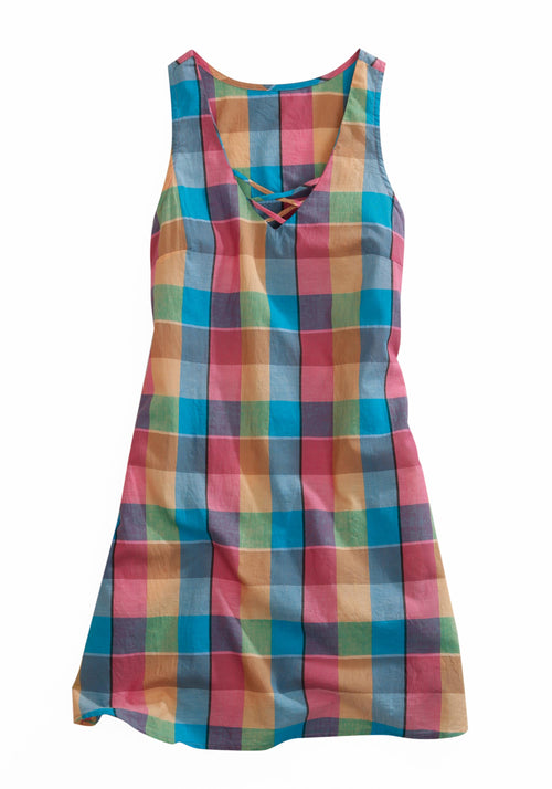 TIN HAUL WOMENS PINK 1794 RETRO CHECK A-LINE DRESS TIN HAUL COLLECTION SHORT SLEEVE DRESS