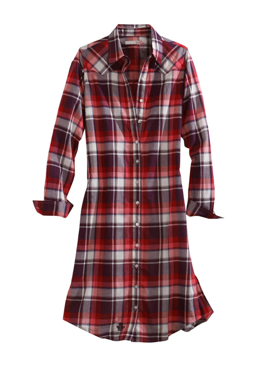 TIN HAUL WOMENS WINE 2142 RED WINE PLAID LS DUSTER TIN HAUL COLLECTION SHORT SLEEVE DRESS