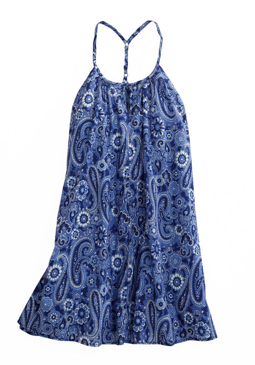 TIN HAUL WOMENS BLUE 1800 FLOWER POWER PAISLEY STRAPPY DRES TIN HAUL COLLECTION SLEEVELESS DRESS
