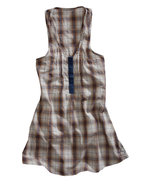 TIN HAUL LADIES YELLOW 7417 GOLD DIGGER PLAID TIN HAUL COLLECTION SLEEVELESS DRESS