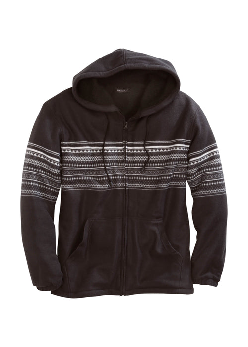 TIN HAUL MENS BLACK 4013 AZTEC PRT POLAR FLEECE JACKET TIN HAUL COLLECTION JACKET