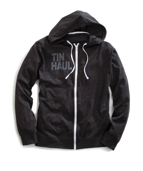 TIN HAUL MENS BLACK 31056 ZIP UP  HOODIE FRONT PKTS ARIAL TIN HAUL COLLECTION- ARIAL BLACK FONT JACKET