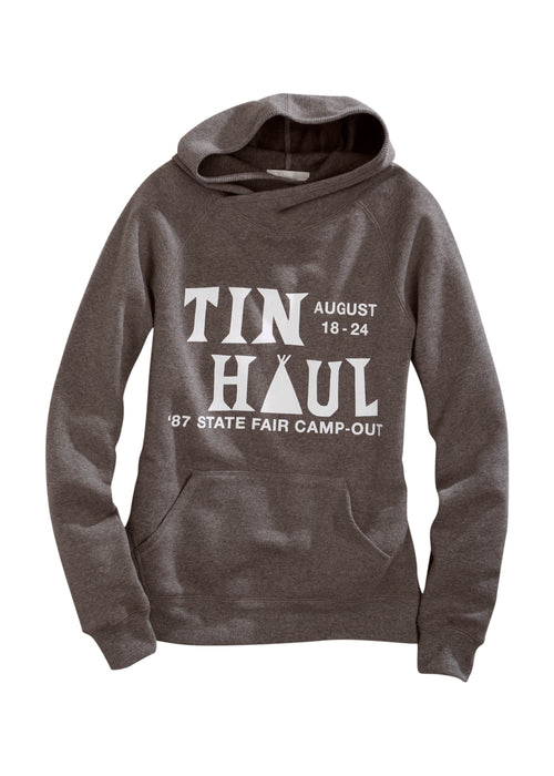 TIN HAUL WOMENS GREY TIN HAUL CAMP OUT SCREEN PRINT TIN HAUL GALS SWEATSHIRT