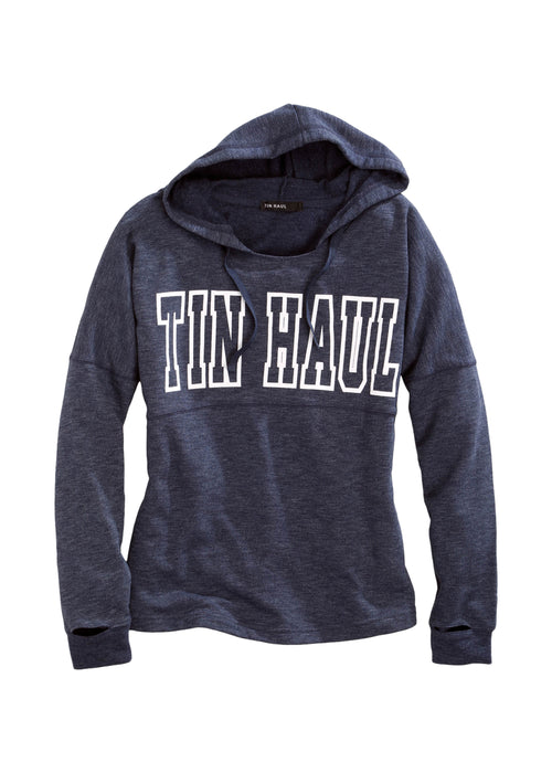 TIN HAUL WOMENS BLUE TIN HAUL BIG SCRIPT ACROSS CHEST TIN HAUL GALS SWEATSHIRT