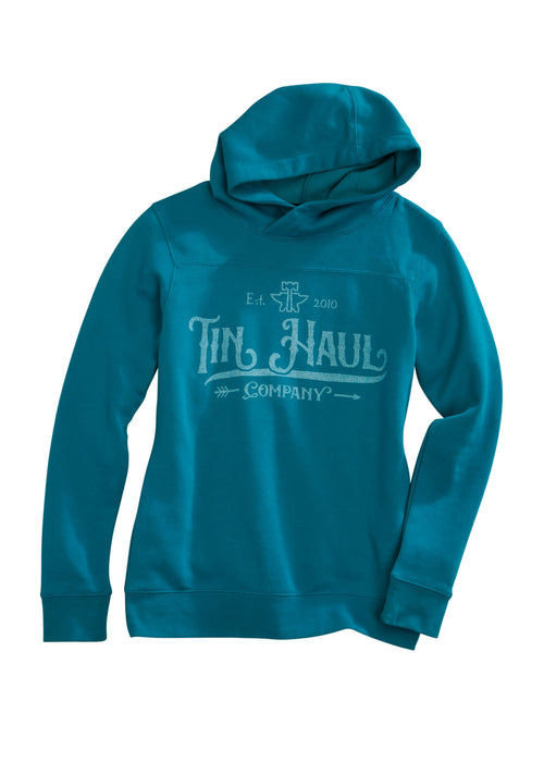 TIN HAUL WOMENS BLUE TIN HAUL COMPANY ARROW SCREEN PRINT TIN HAUL GALS SWEATSHIRT