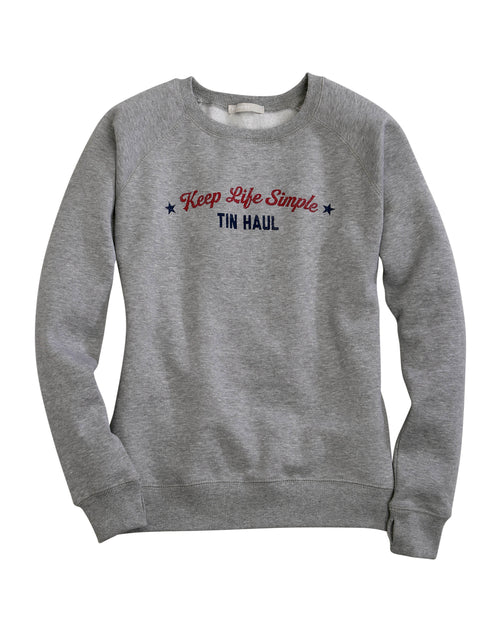 TIN HAUL WOMENS GREY KEEP LIFE SIMPLE CREW NECK SWEATSHIRT TIN HAUL COLLECTION- SWEATSHIRTS SWEATSHIRT