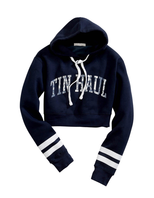 TIN HAUL WOMENS BLUE CROPPED FLEECE HOODIE WITH TIN HAUL TIN HAUL COLLECTION- SWEATSHIRTS SWEATSHIRT