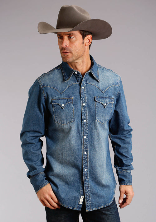 STETSON MENS BLUE MED BLUE DENIM SHIRT W/BACK YOKE EMB STETSON MEN'S COLLECTION- ORIGINAL RUGGED LONG SLEEVE