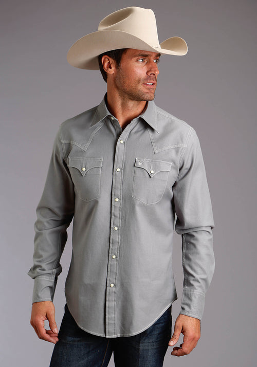 STETSON MENS GREY 2297 SOLID HEATHER GREY TWILL STETSON MEN'S COLLECTION- ORIGINAL RUGGED LONG SLEEVE