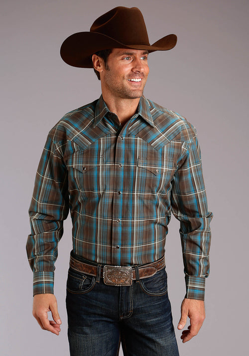 STETSON MENS BROWN 2200 RAIN PLAID STETSON MEN'S COLLECTION- WINTER I LONG SLEEVE