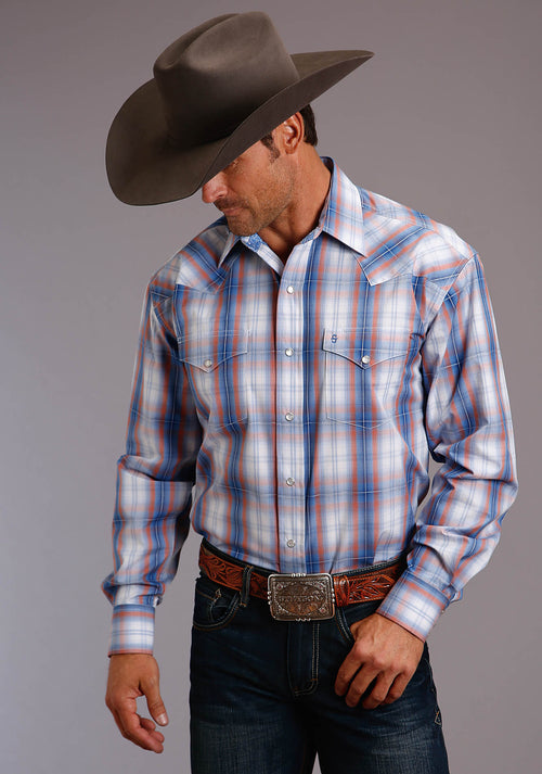 STETSON MENS BLUE 00191 SUNSET OMBRE STETSON MEN'S COLLECTION - SUMMER I LONG SLEEVE