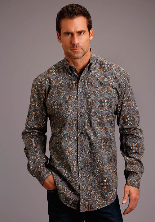 STETSON MENS GREY 00285 ANTIQUE PAISLEY STETSON MEN'S COLLECTION- FALL I LONG SLEEVE