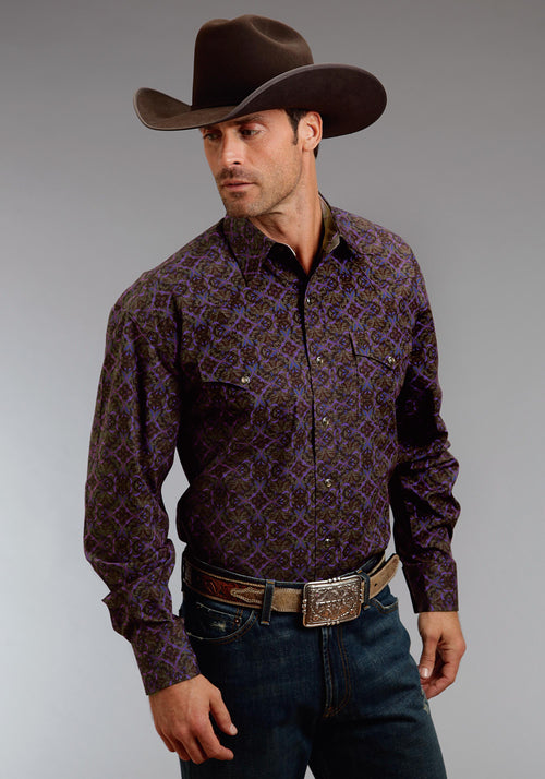 STETSON MENS PURPLE 0577 GOTHIC PAPER PRINT  LONG SLEEVE SHIRT