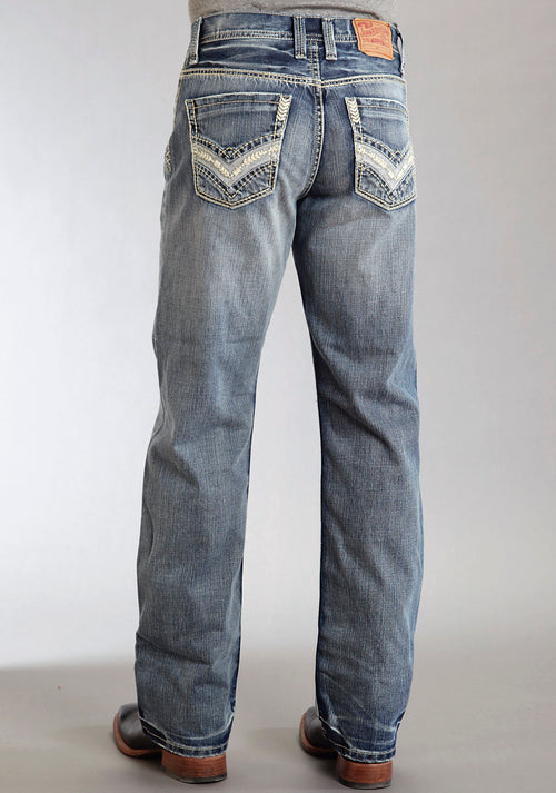 STETSON MENS BLUE PIECED BACK PKT USING WRONG SIDE DENIM STETSON MEN'S JEAN JEANS