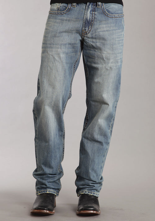 STETSON MENS BLUE MED WASH W/BACK KNEE TACKING STETSON MEN'S COLLECTION-INSTOCK JEANS