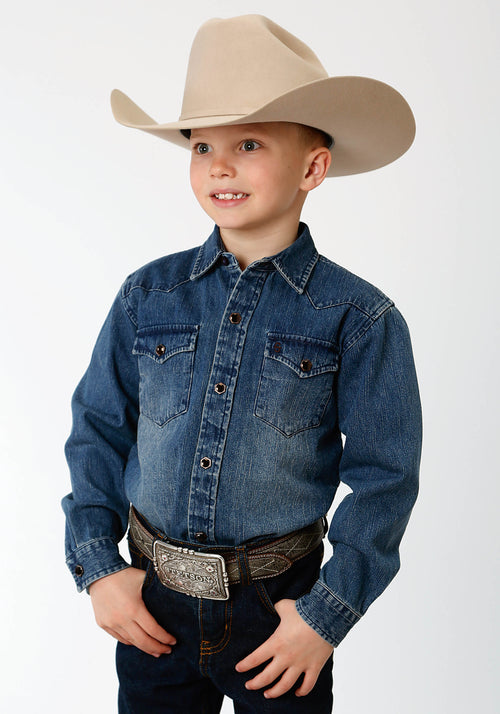 STETSON BOYS BLUE 3852 MED WT. DENIM STETSON BOYS COLLECTION- INSTOCK LONG SLEEVE