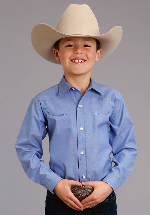 STETSON BOYS BLUE 3868 PINPOINT OXFORD - BLUE STETSON BOYS COLLECTION- INSTOCK LONG SLEEVE