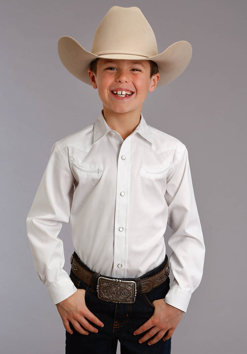 STETSON BOYS WHITE 3868 PINPOINT OXFORD STETSON BOYS COLLECTION- INSTOCK LONG SLEEVE