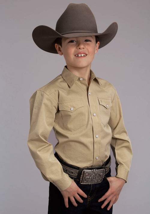 STETSON BOYS YELLOW 5661 END ON END SOLID - GOLD STETSON BOYS COLLECTION- INSTOCK LONG SLEEVE