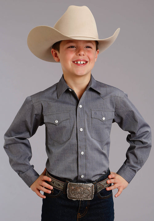 STETSON BOYS BLUE 5661 END ON END SOLID - NAVY STETSON BOYS COLLECTION- INSTOCK LONG SLEEVE
