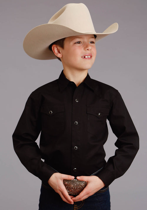 STETSON BOYS BLACK 4296 SOLID POPLIN - BLACK STETSON BOYS COLLECTION- INSTOCK LONG SLEEVE