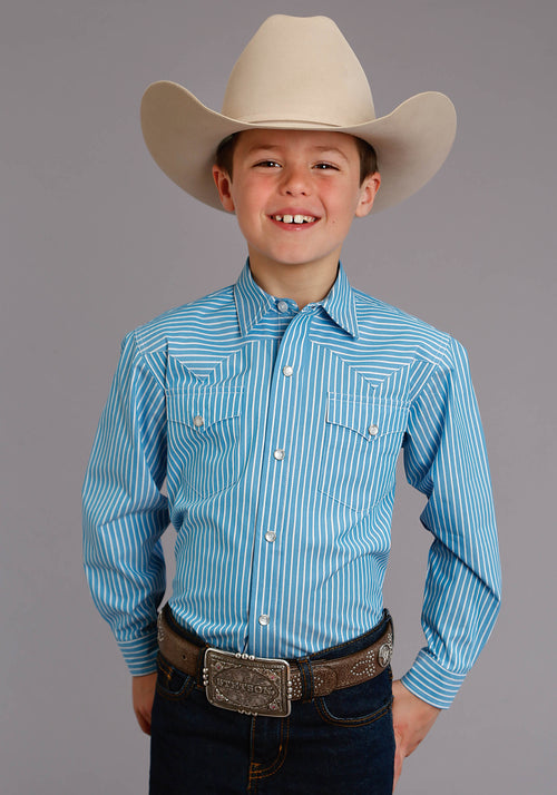 STETSON BOYS BLUE 0898 CANDY STRIPE - TURQ STETSON BOYS COLLECTION- INSTOCK LONG SLEEVE