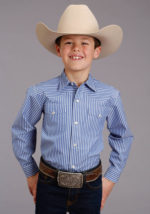 STETSON BOYS BLUE 0898 CANDY STRIPE - PERI STETSON BOYS COLLECTION- INSTOCK LONG SLEEVE