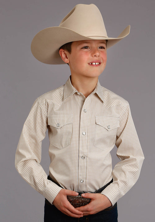 STETSON BOYS YELLOW 5662 TWO STRIPE CHECK - GOLD STETSON BOYS COLLECTION- INSTOCK LONG SLEEVE