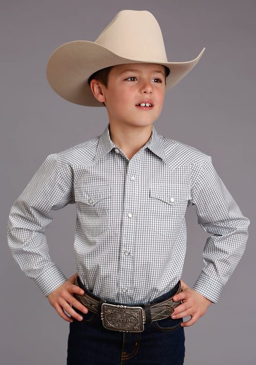 STETSON BOYS BLUE 5662 TWO STRIPE CHECK - NAVY STETSON BOYS COLLECTION- INSTOCK LONG SLEEVE