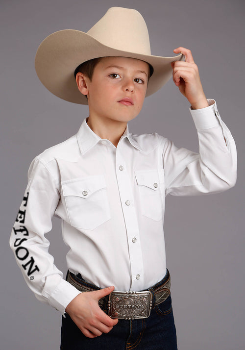 STETSON BOYS WHITE 3868 STETSON LOGO WEAR STETSON BOYS COLLECTION- INSTOCK LONG SLEEVE