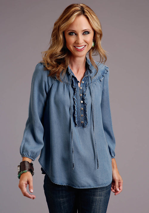 STETSON WOMENS BLUE TENCEL DENIM PULLOVER PEASANT BLOUSE STETSON WOMEN'S COLLECTION - SUMMER I LONG SLEEVE
