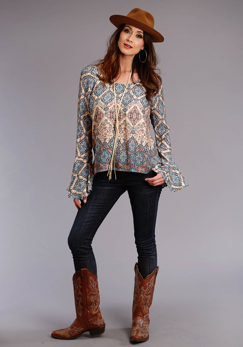 STETSON WOMENS BROWN 0520 TAPESTRY BORDER HERRINGBONE TWILL STETSON LADIES COLLECTION- FALL I LONG SLEEVE