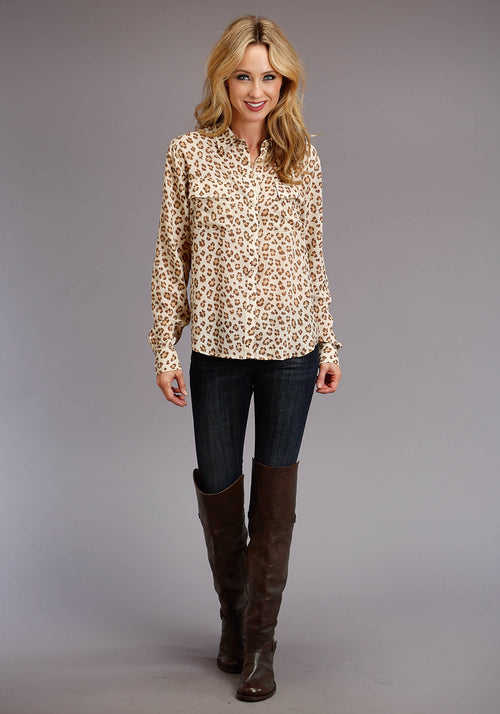 STETSON WOMENS BROWN 0567 RAYON CREPE LEOPARD PRINT STETSON LADIES COLLECTION- FALL III LONG SLEEVE