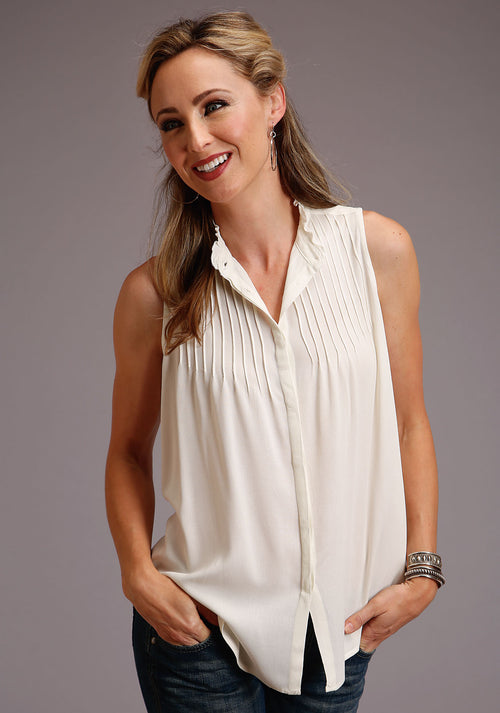 STETSON WOMENS WHITE 00143 RAYON CREPE SL BLOUSE STETSON LADIES COLLECTION- SPRING I SLEEVELESS