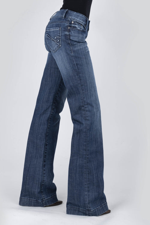 "STETSON WOMENS BLUE STESTON ""S"" EMB BACK POCKET STETSON WOMEN'S JEAN- 214 TROUSER FIT JEANS"