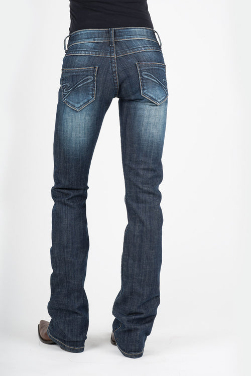 "STETSON WOMENS BLUE TONAL ""S"" BACK PKT STETSON LADIES JEAN- 818 CONTEMPORARY STYLING JEANS"