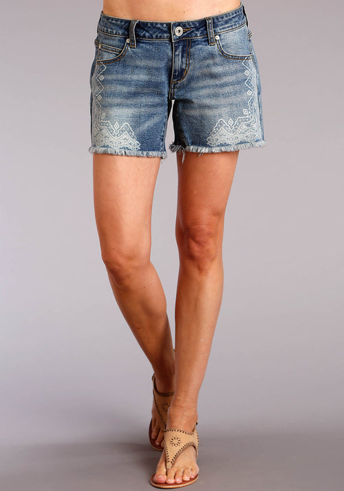 STETSON WOMENS BLUE FRAYED MED WASH DENIM SHORTS W/PAISLY STETSON LADIES COLLECTION- SPRING I SHORTS