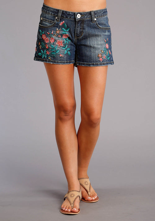 STETSON WOMENS BLUE DENIM SHORTS W/EMB MAJOR GRINDNG AND STETSON LADIES COLLECTION- SUMMER II SHORTS
