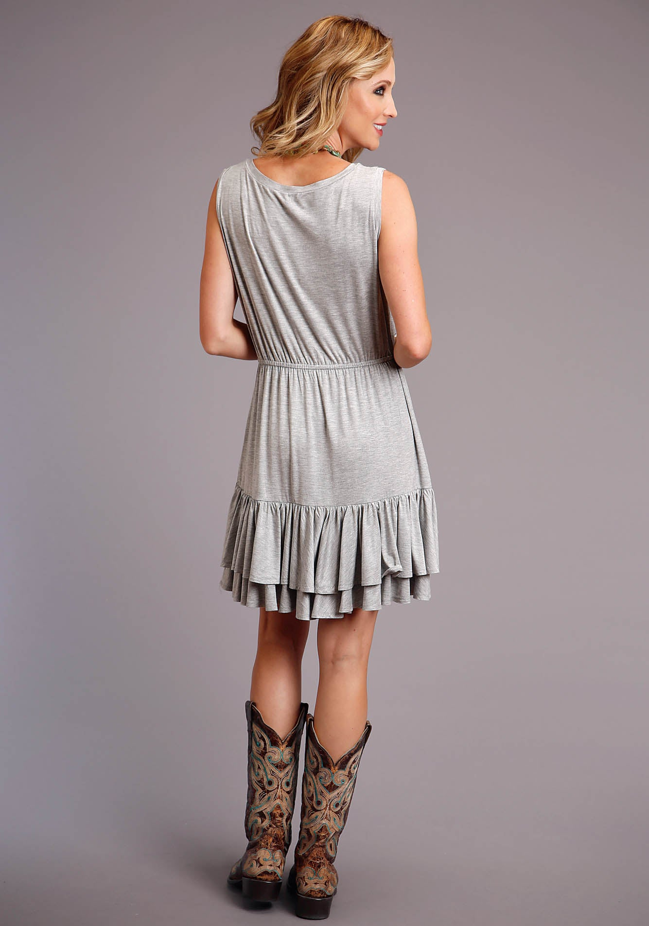 STETSON WOMENS GREY 00241 JERSEY KNIT TANK DRESS STETSON WOMEN'S COLLECTION - SUMMER I SHORT SLEEVE DRESS